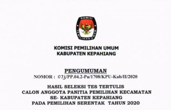 Pengumuman Seleksi Calon Anggota PPK se-Kabupaten Kepahiang