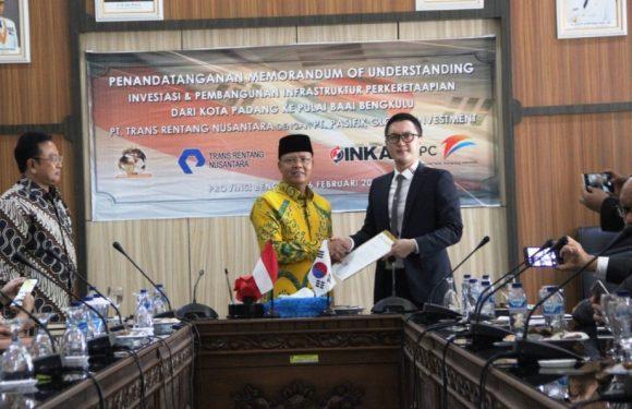Penandatanganan Mou Antara PT. Trans Rentang Nusantara dengan PT. Pasifik Global Investment, Percepat Pembangunan Rel Kereta Api Kota Padang – Pulau Baai