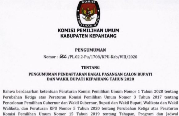 Pengumuman Pendaftaran Bakal Pasangan Calon Bupati dan Wakil Bupati  Kepahiang 2020