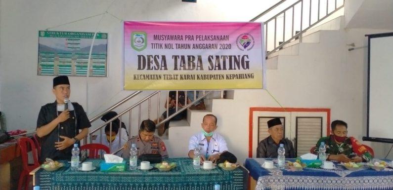 Musyawarah Pra Pelaksanaan Titik Nol Desa Taba Santing